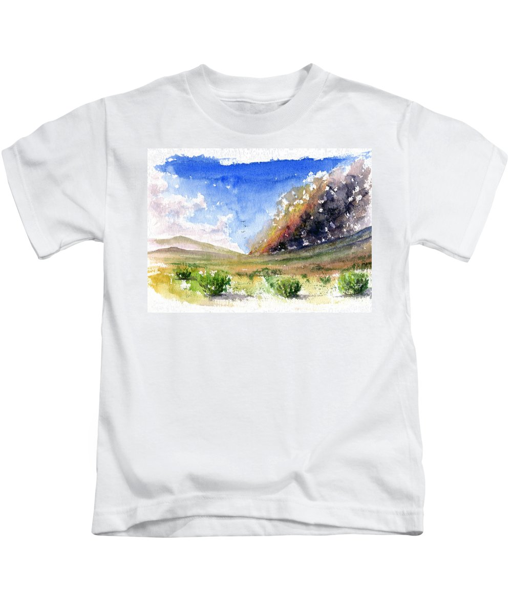 Fire Kids T-Shirt featuring the painting Fire In The Desert 1 by John D Benson
