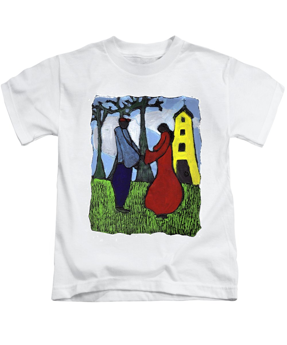 Love Kids T-Shirt featuring the painting First Love by Wayne Potrafka