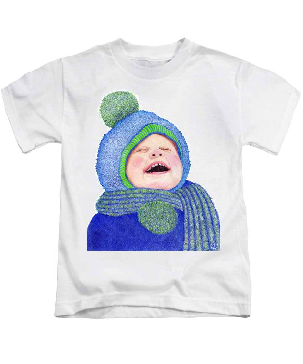 Young Boy Kids T-Shirt featuring the drawing First Snow by Marilyn Hilliard