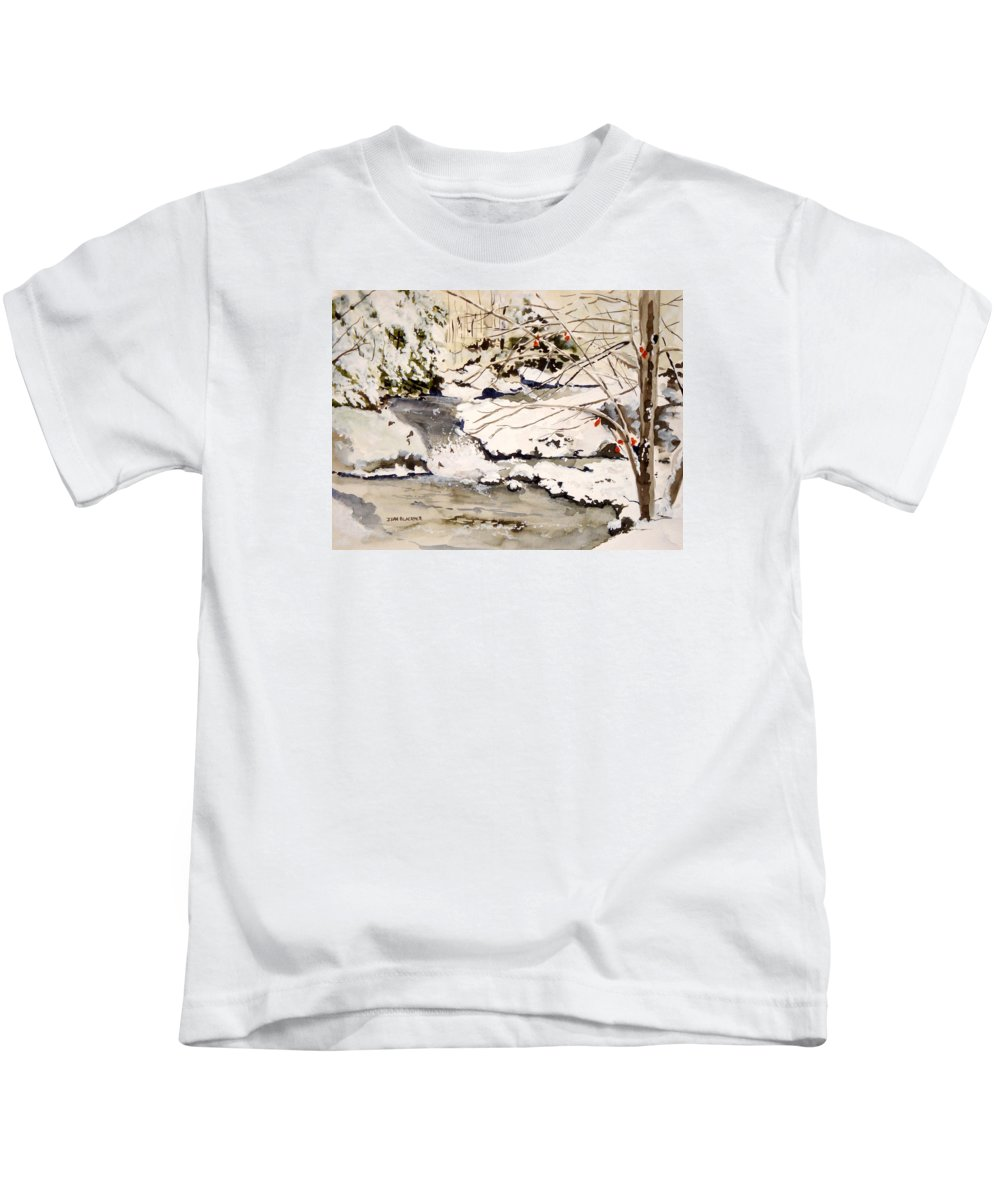 Winter Scene Kids T-Shirt featuring the painting First Snowfall by Jean Blackmer