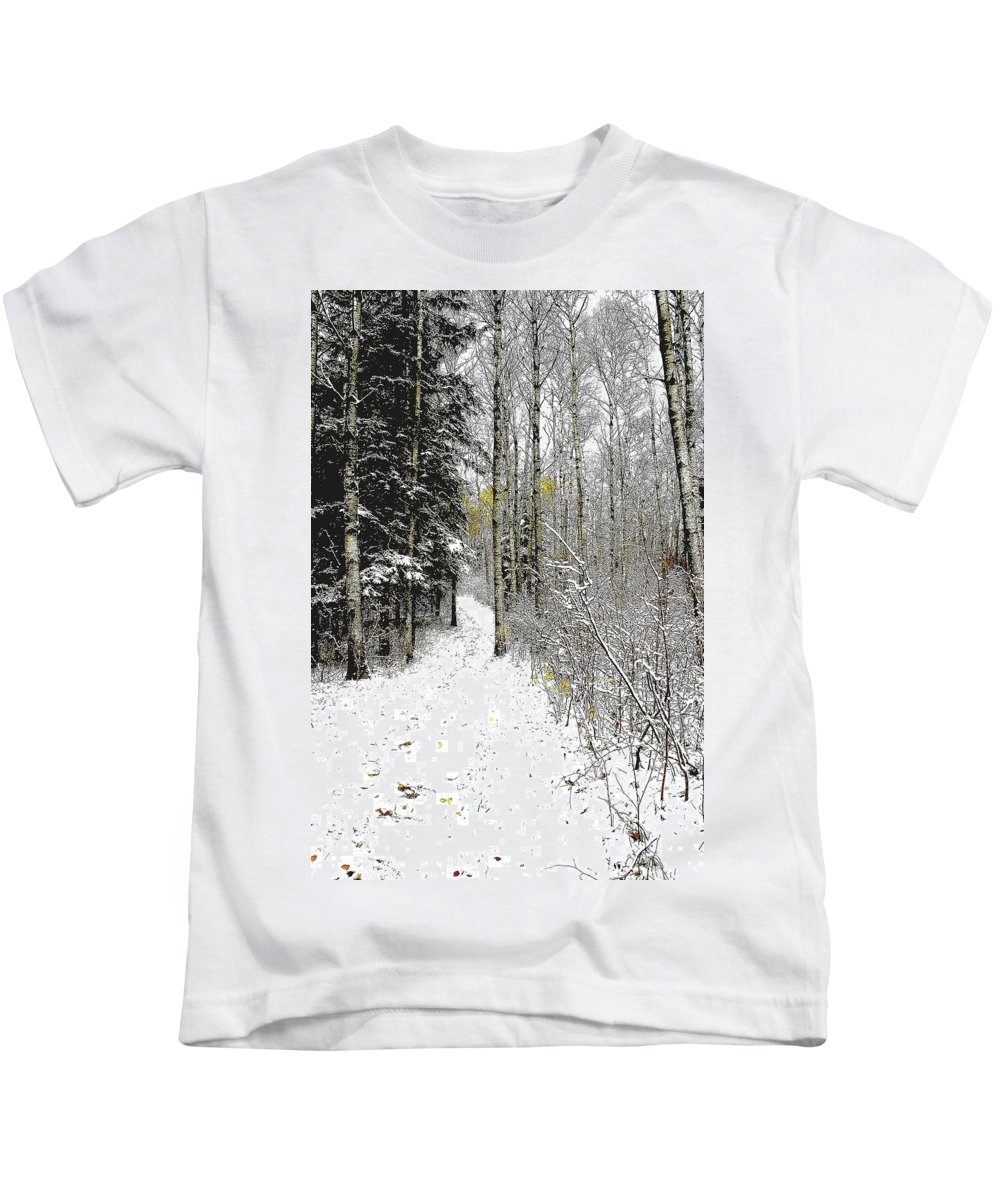 Winter Kids T-Shirt featuring the photograph First Snowfall by Nelson Strong
