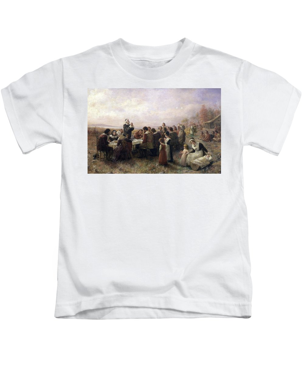 The First Thanksgiving Kids T-Shirt featuring the painting First Thanksgiving Vintage Painting by PaintingAssociates