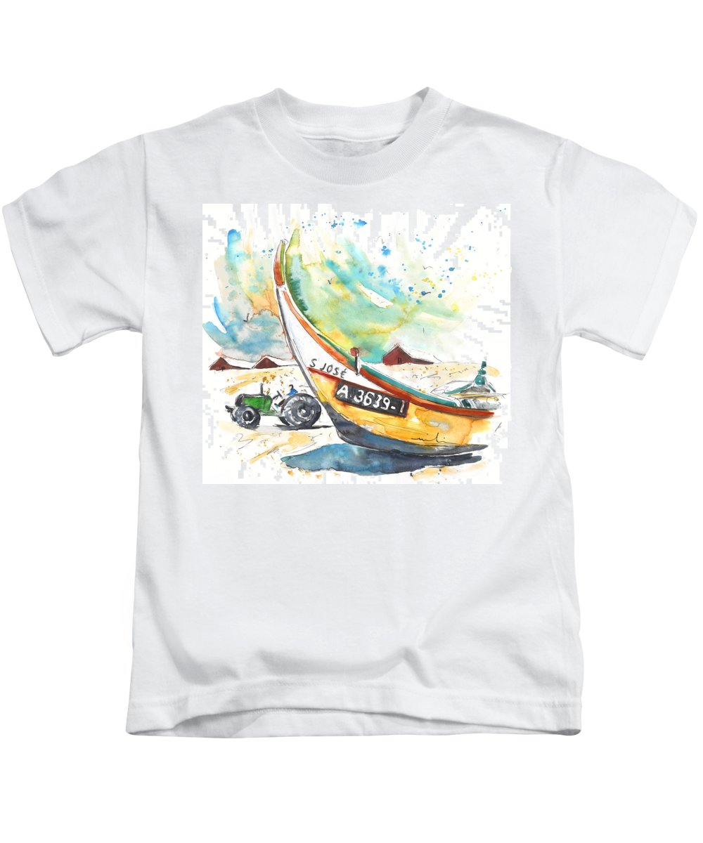 Portugal Kids T-Shirt featuring the painting Fisherboat In Praia De Mira by Miki De Goodaboom