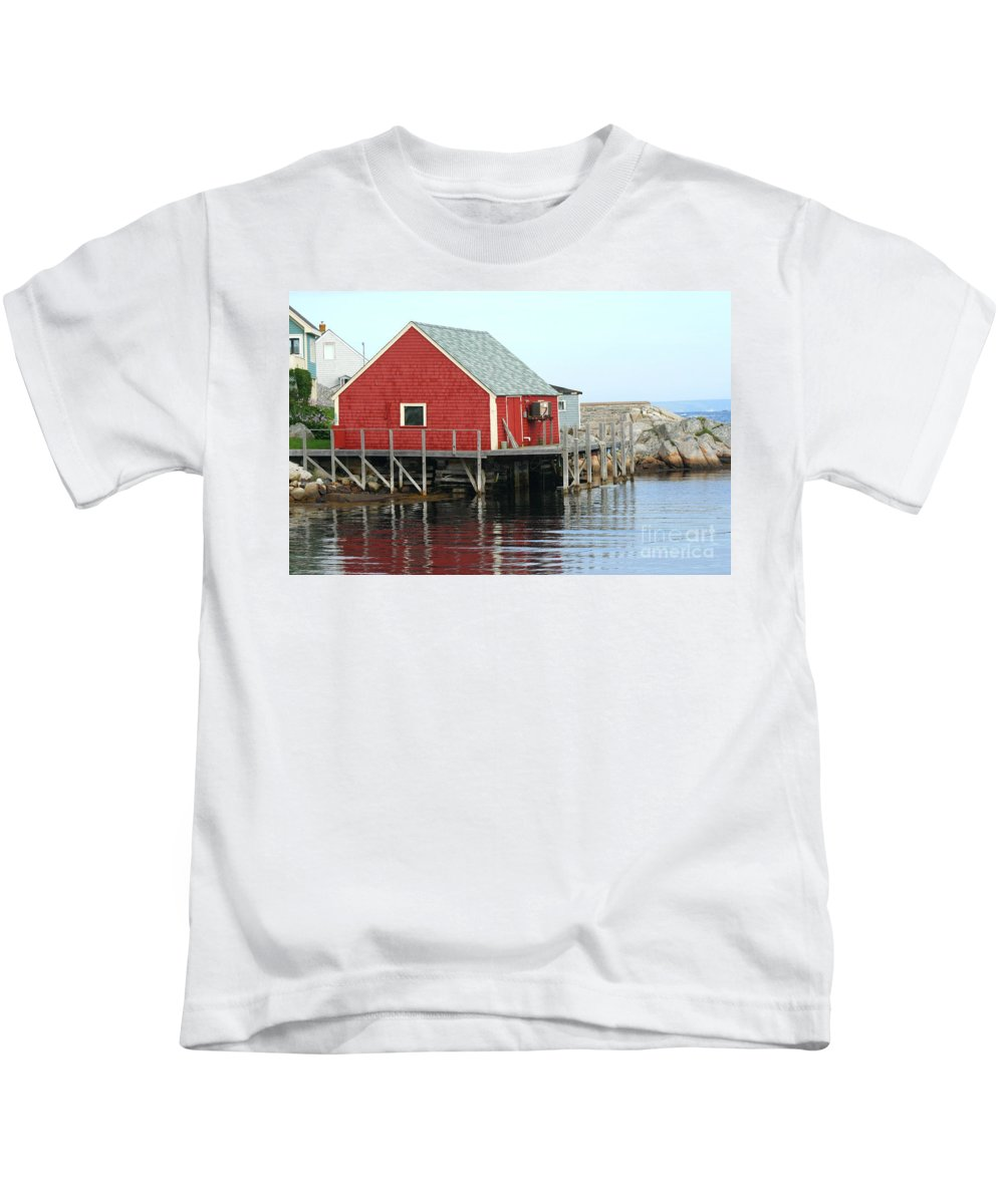 Peggy's Cove Kids T-Shirt featuring the photograph Fishermans House On Peggys Cove by Thomas Marchessault