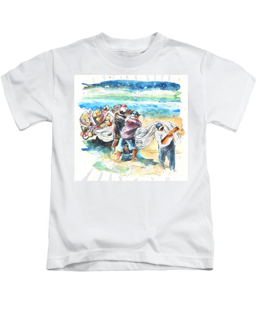 Portugal Kids T-Shirt featuring the painting Fishermen In Praia De Mira by Miki De Goodaboom