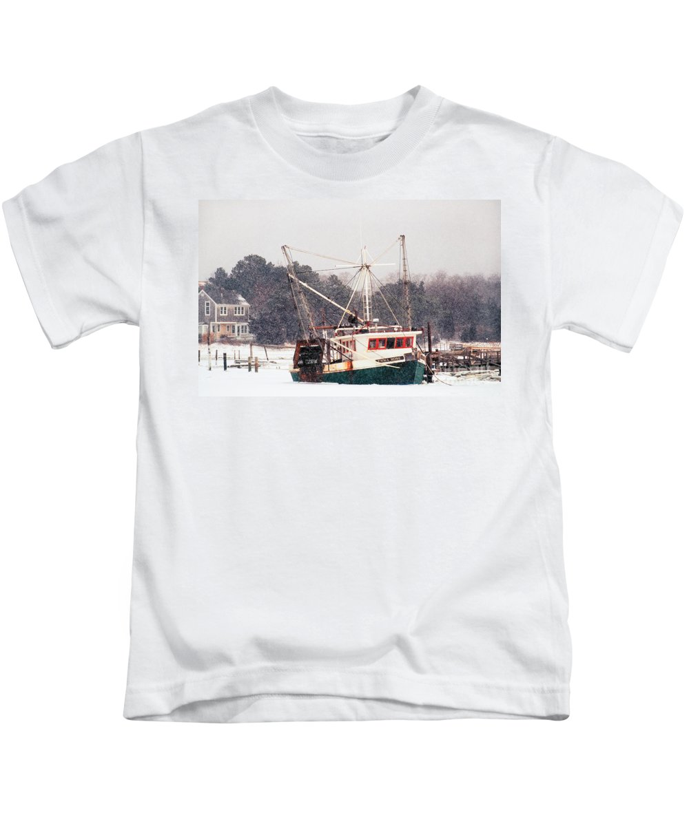 Fishing Boat Kids T-Shirt featuring the photograph Fishing Boat Emma Rose In Winter Cape Cod by Matt Suess