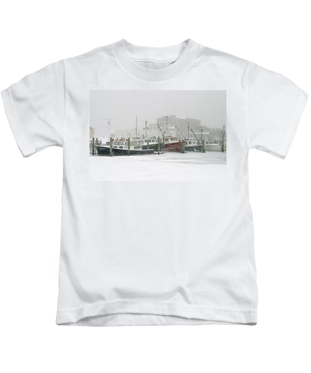 Winter Kids T-Shirt featuring the photograph Fishing Boats During Winter Storm Sandwich Cape Cod by Matt Suess