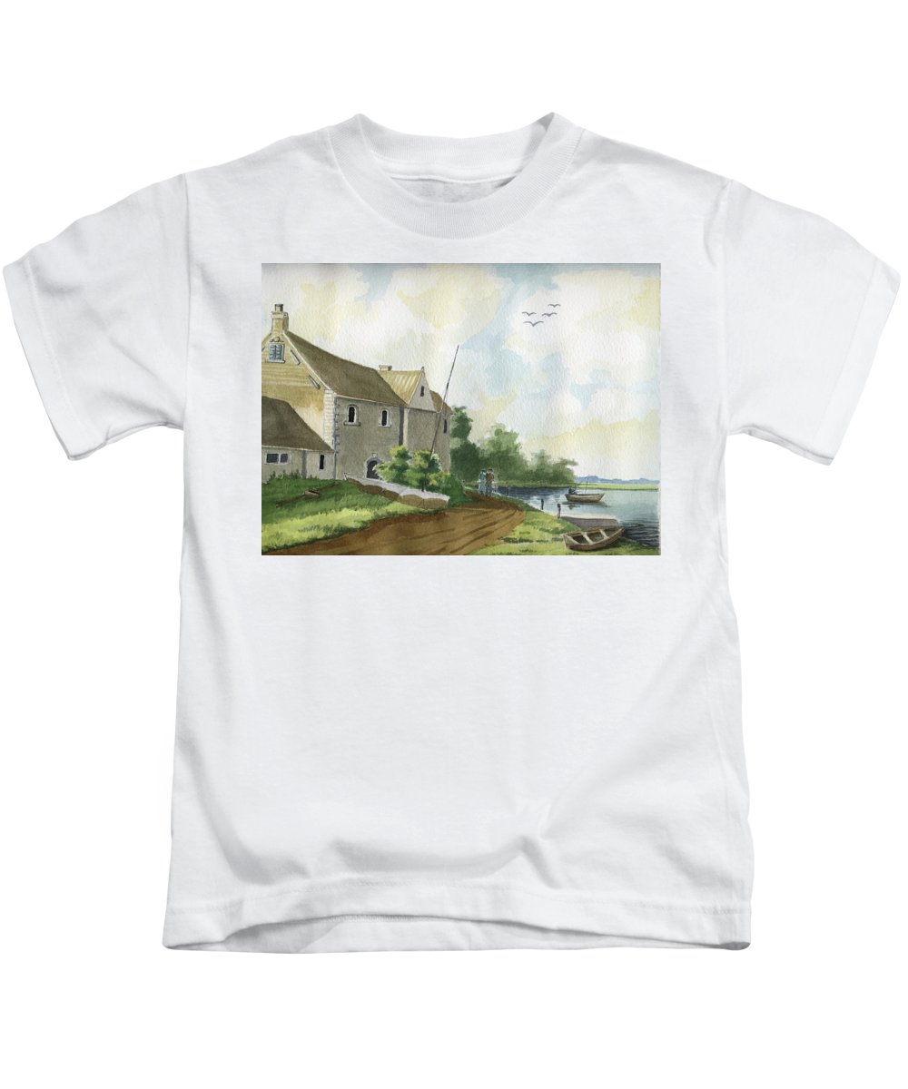 Lake Kids T-Shirt featuring the painting Fishing Lake by Alban Dizdari