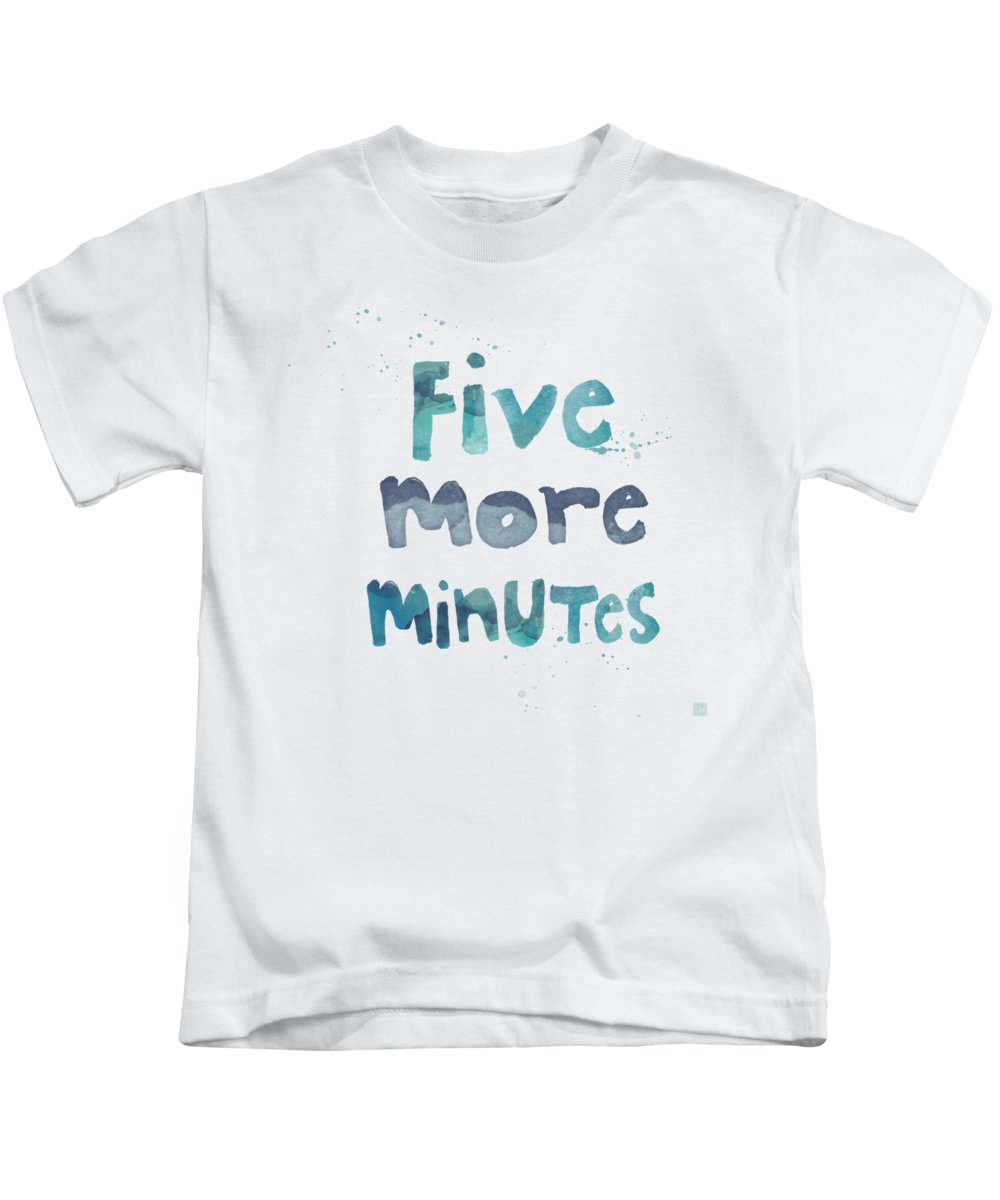 Sleep Kids T-Shirt featuring the painting Five More Minutes by Linda Woods