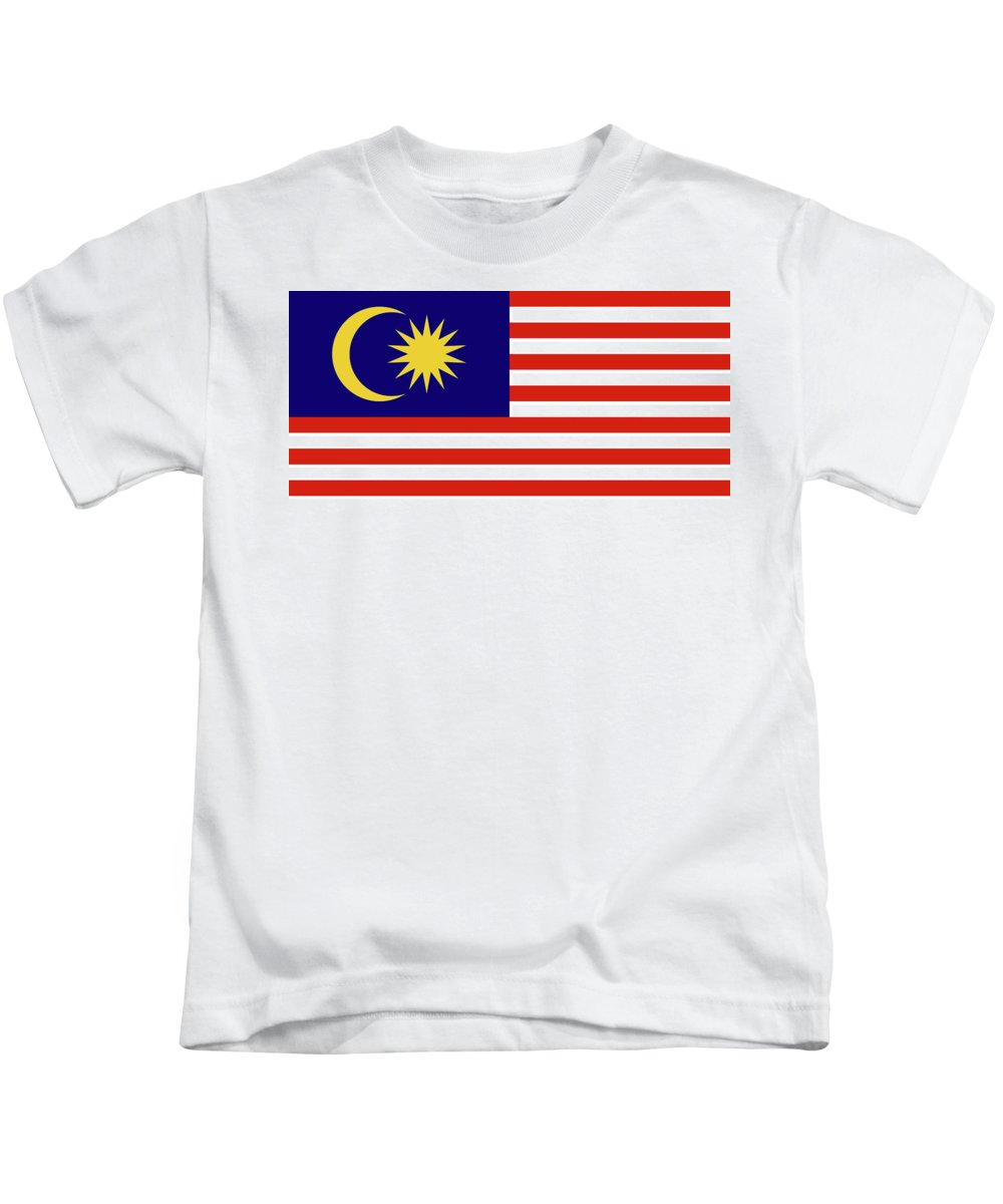 Asia Kids T-Shirt featuring the digital art Flag Of Malaysia. by Roy Pedersen