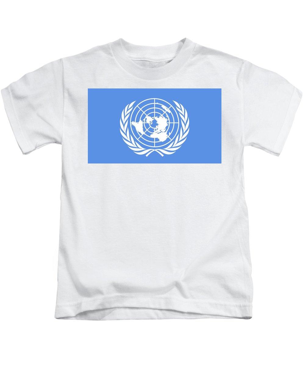 Flag Of The United Nations Kids T-Shirt featuring the digital art Flag Of The United Nations by Dorothy Binder