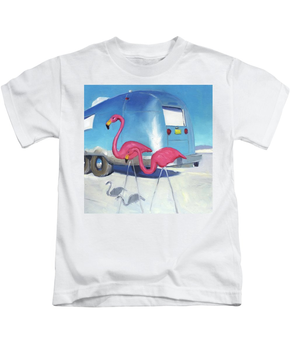 Flamingo Kids T-Shirt featuring the painting Flamingo Migration by Elizabeth Jose