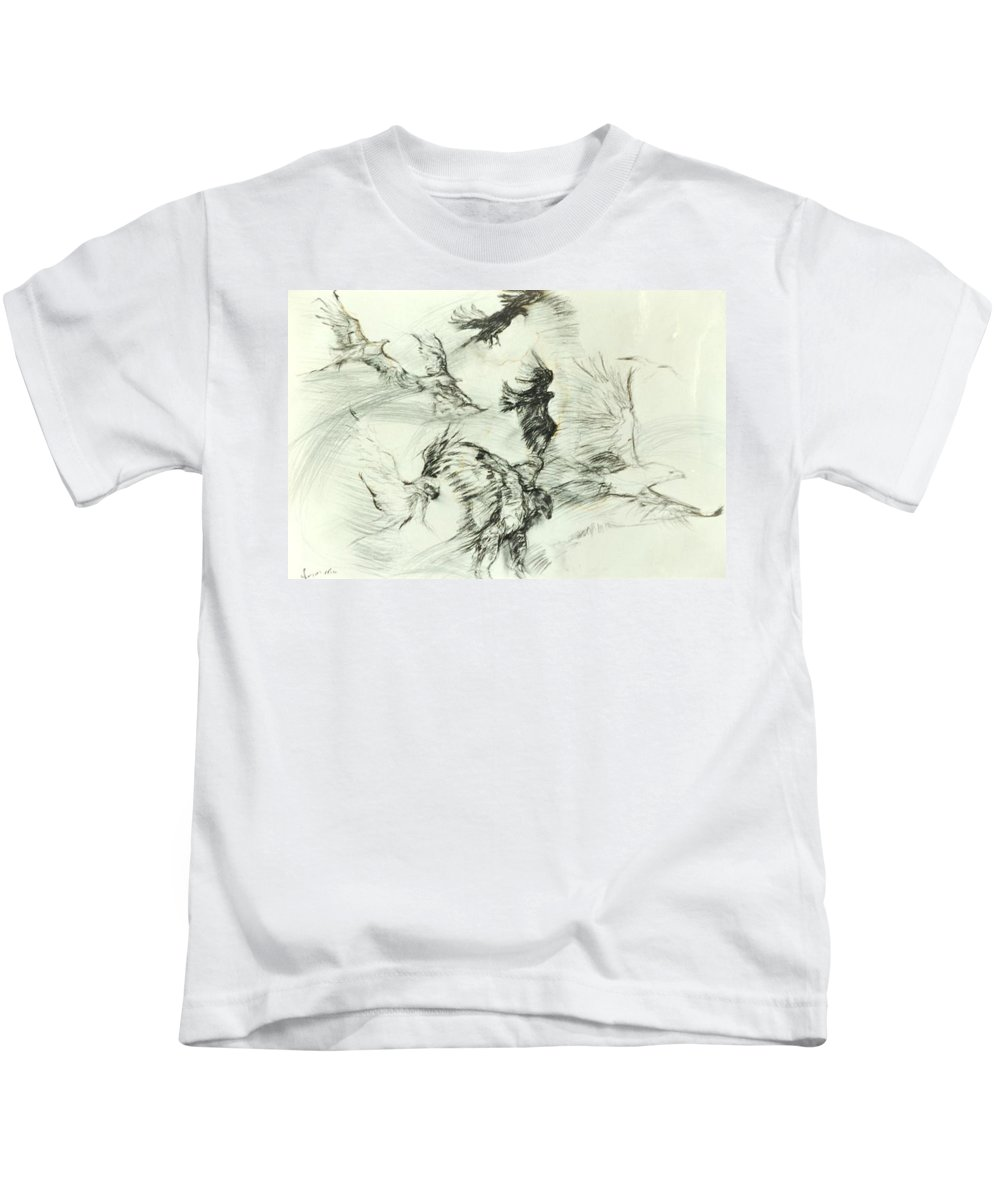 Birds Kids T-Shirt featuring the drawing Flight Of The Eagle by Arlene Rabinowitz