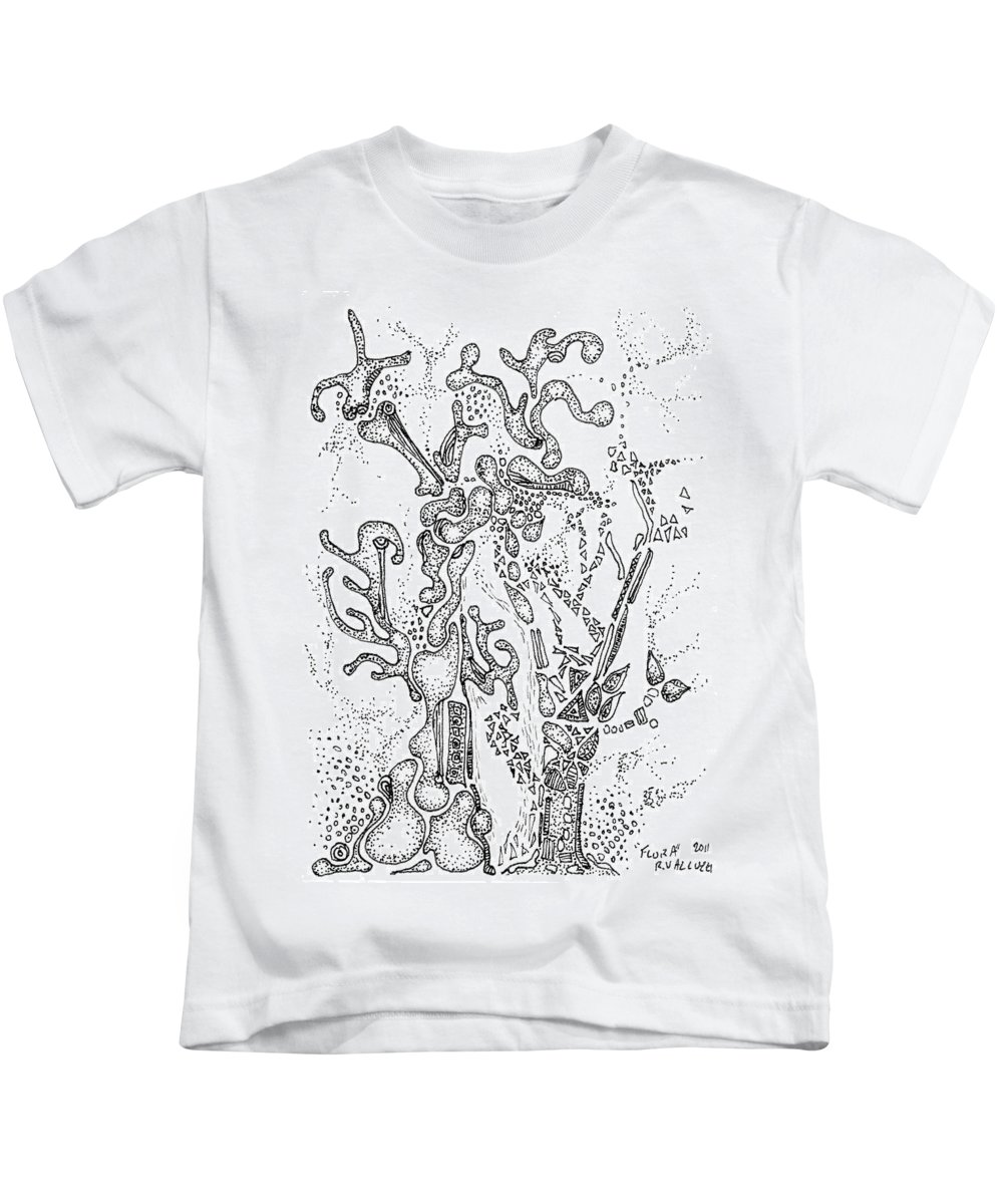Flora Kids T-Shirt featuring the drawing Flora Aceo by Regina Valluzzi