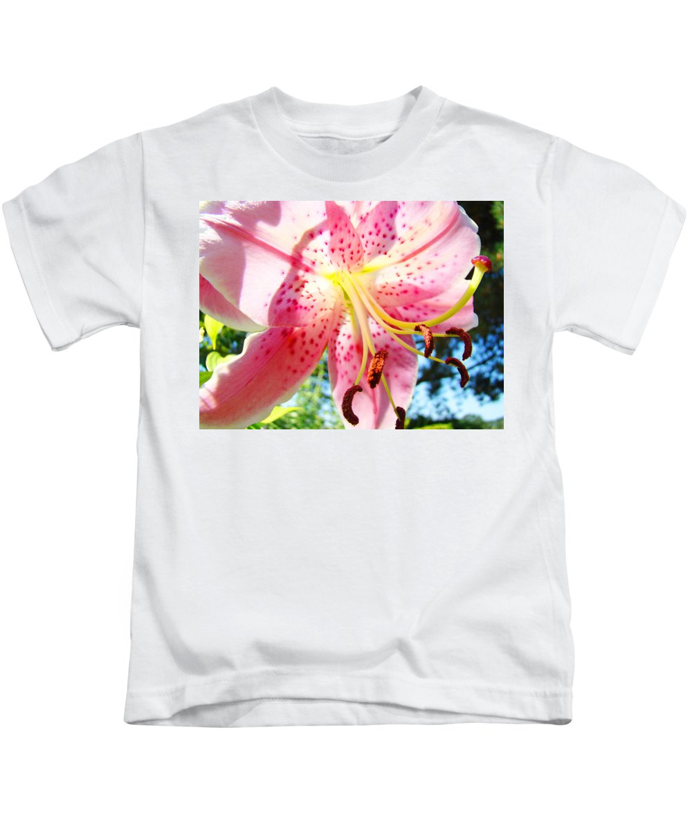 Lilies Kids T-Shirt featuring the photograph Floral Art Print Pink Summer Lily Flower Lilies Baslee Troutman by Baslee Troutman