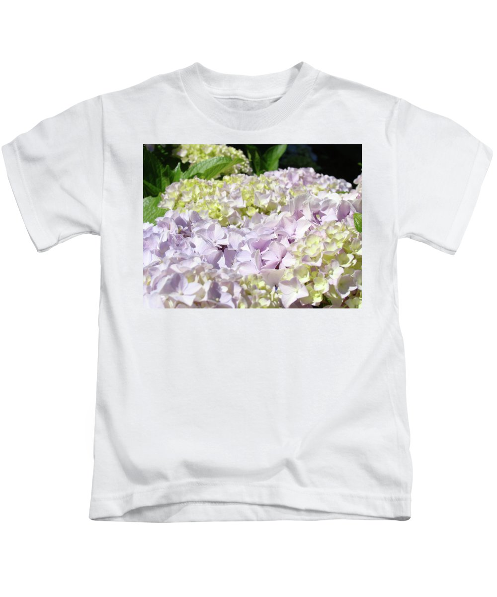 Nature Kids T-Shirt featuring the photograph Floral Hydrangea Flowers Art Prints Lavender Baslee Troutman by Baslee Troutman