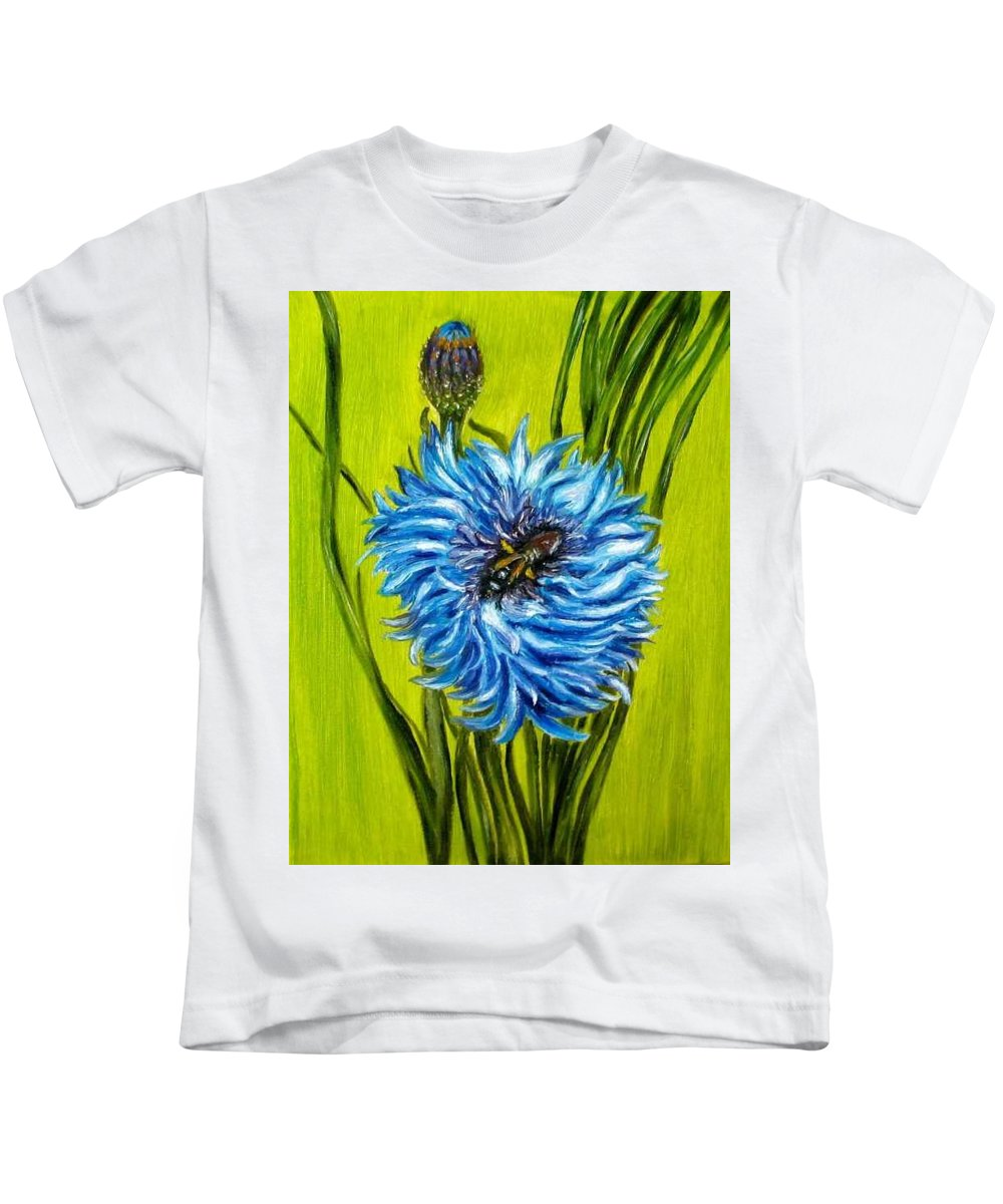 Flower Kids T-Shirt featuring the painting Flower And Bee Oil Painting by Natalja Picugina