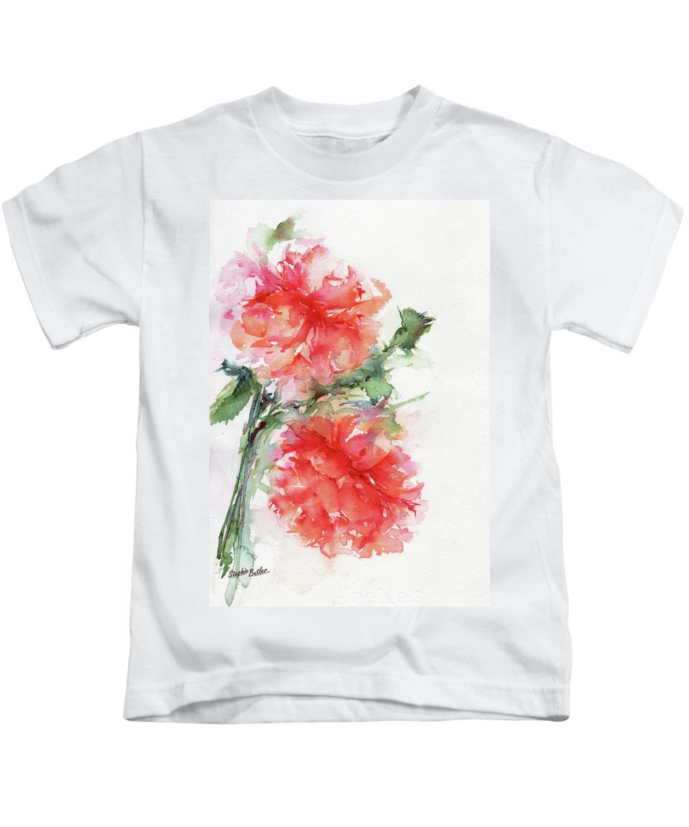 Stephie Kids T-Shirt featuring the painting Flower Of My Dreams by Stephie Butler