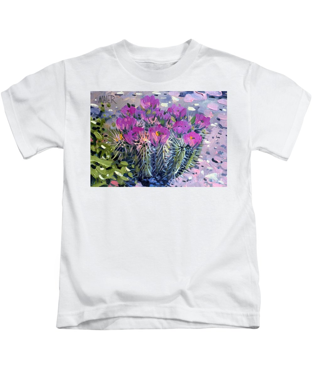 Flowering Cactus Kids T-Shirt featuring the painting Flowering Cactus by Donald Maier