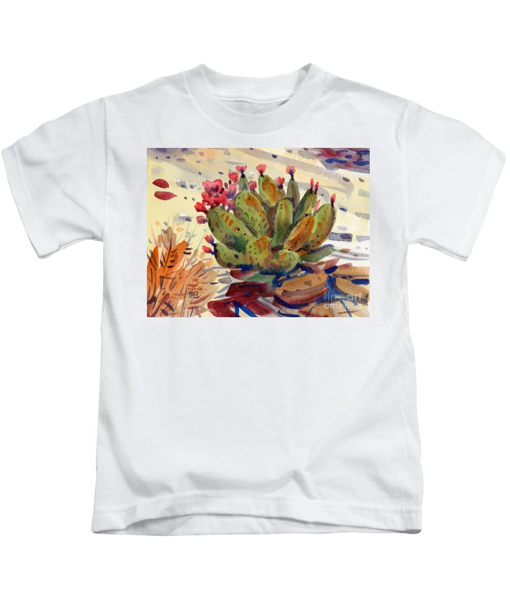 Opuntia Cactus Kids T-Shirt featuring the painting Flowering Opuntia by Donald Maier