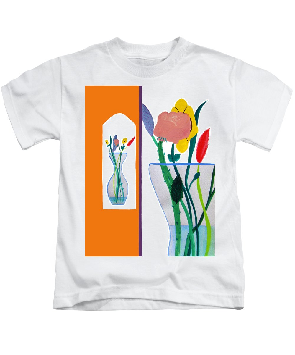 Art Kids T-Shirt featuring the painting Flowers Small And Big by Lee Serenethos