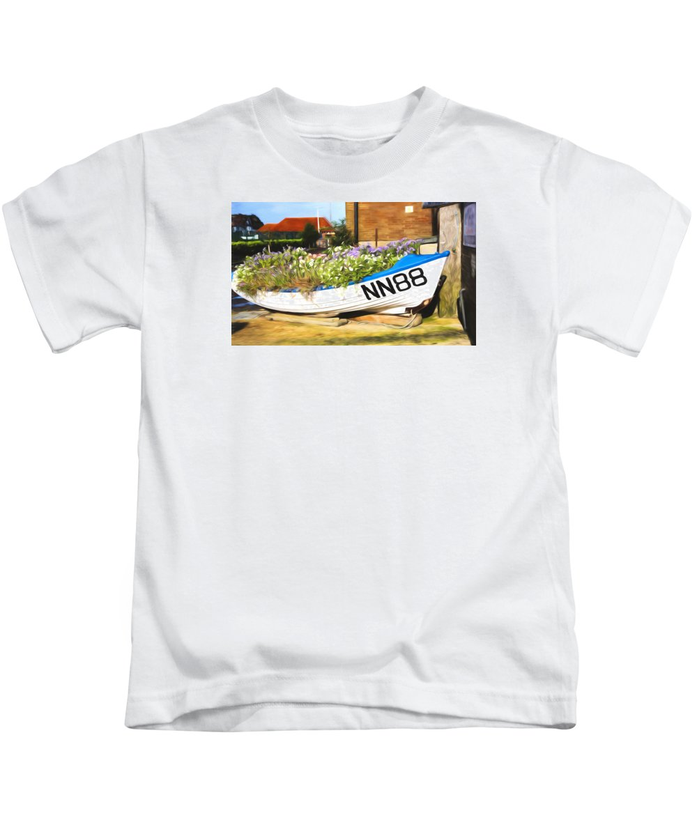 Boat Kids T-Shirt featuring the photograph Flowery by Claudia Daniels