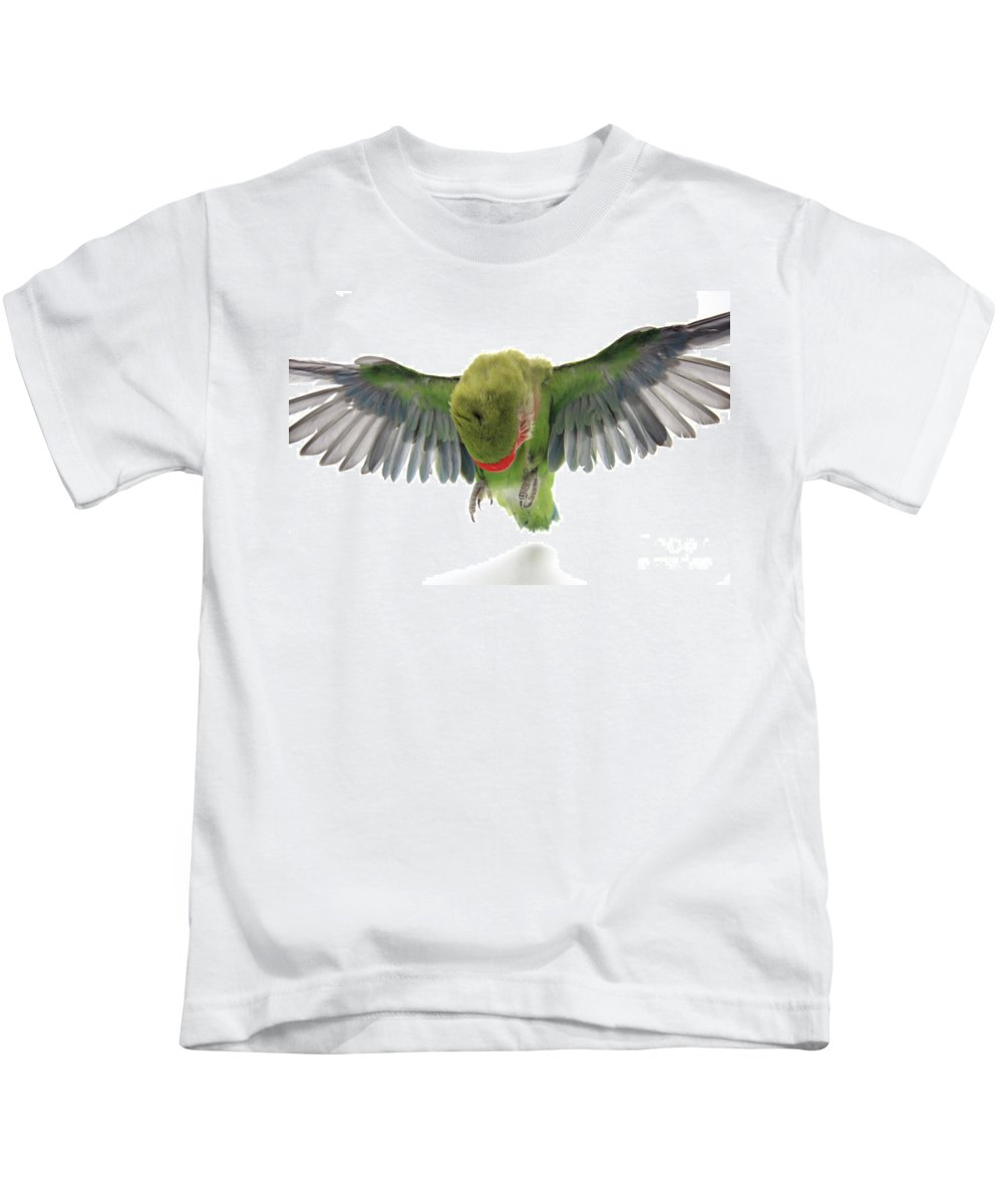 Fly Kids T-Shirt featuring the photograph Flying Parrot by Yedidya yos mizrachi