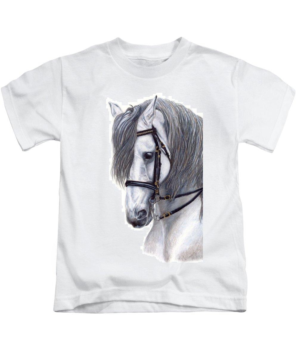 Horse Kids T-Shirt featuring the drawing Focus by Kristen Wesch