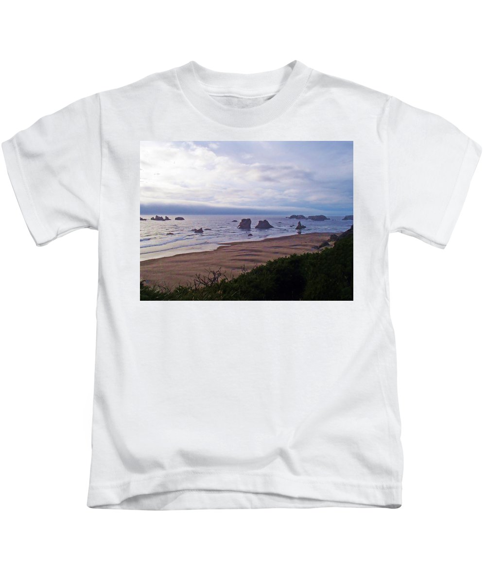 Beach Kids T-Shirt featuring the photograph Foggy Coast by Donna Cain