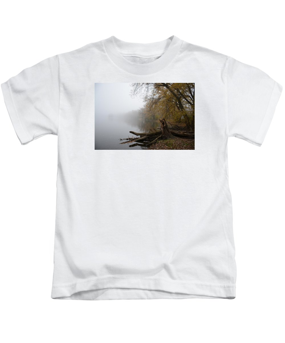 River Kids T-Shirt featuring the photograph Foggy River Bank by Brenda Zych