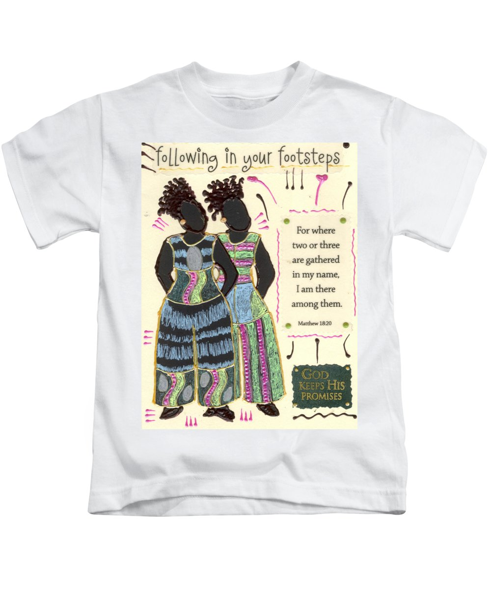 Gretting Cards Kids T-Shirt featuring the mixed media Following In Your Footsteps by Angela L Walker