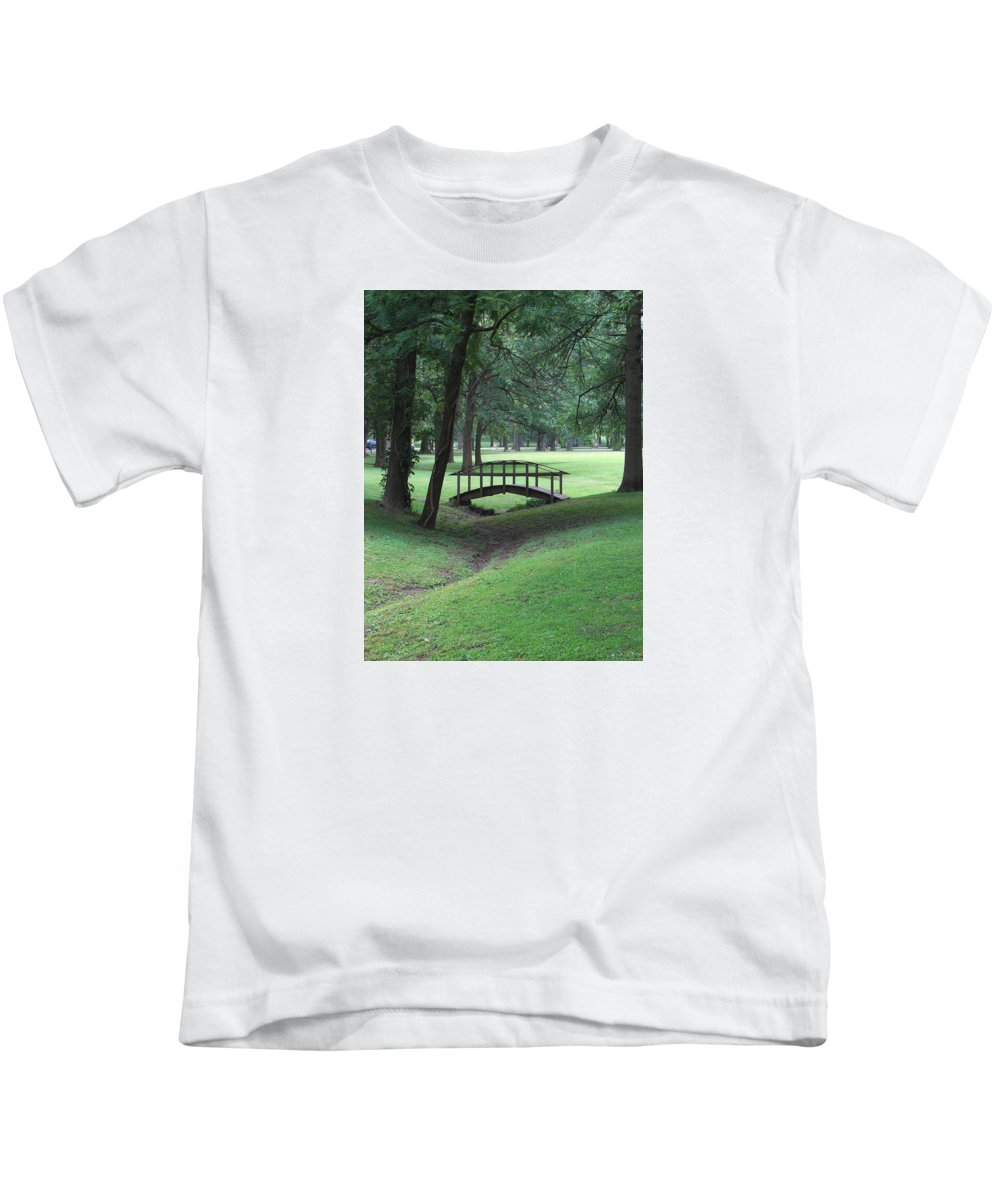 Bridge Kids T-Shirt featuring the photograph Foot Bridge In The Park by J R Seymour
