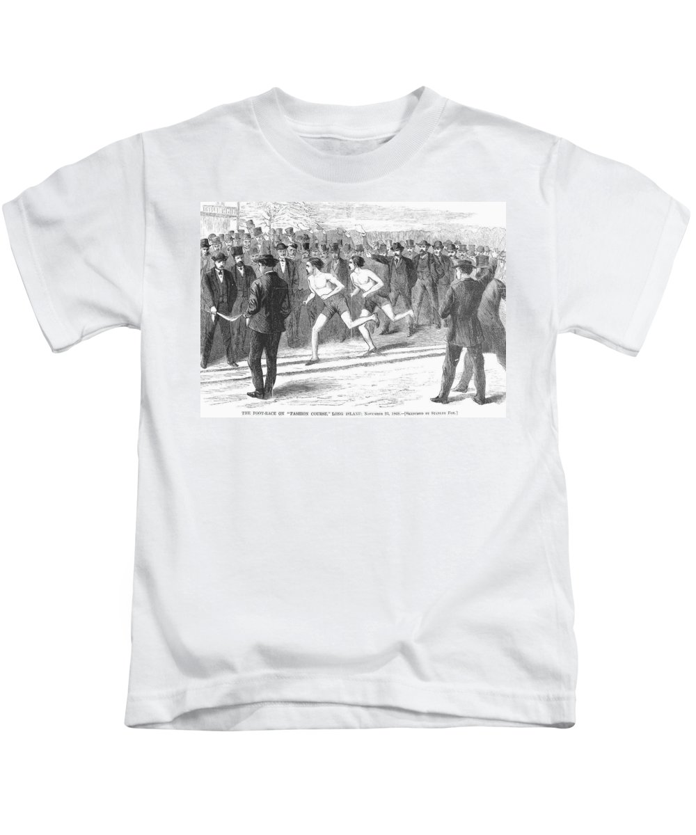 1868 Kids T-Shirt featuring the photograph Foot Race, 1868 by Granger