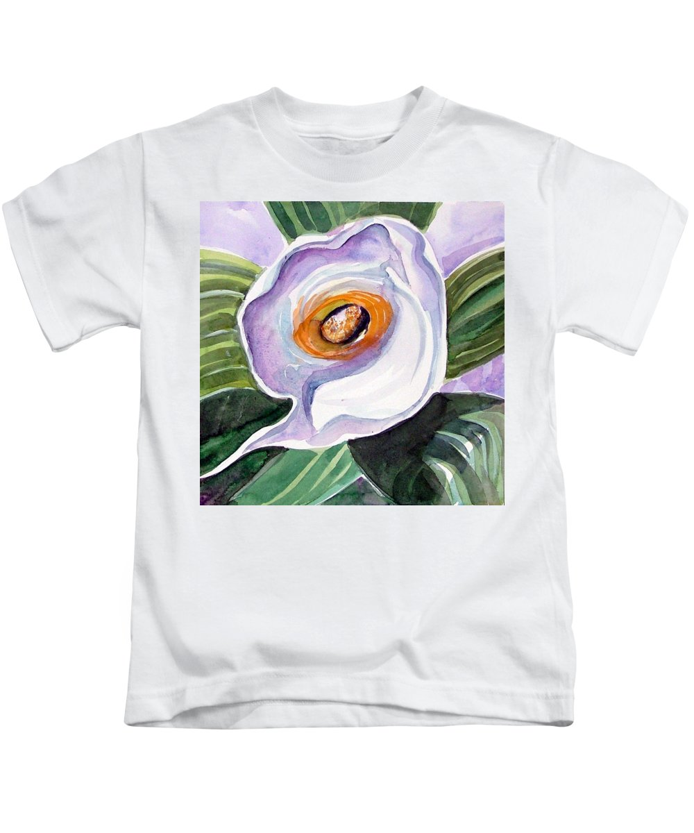 Floral Kids T-Shirt featuring the painting For Georgia O Keefe by Mindy Newman