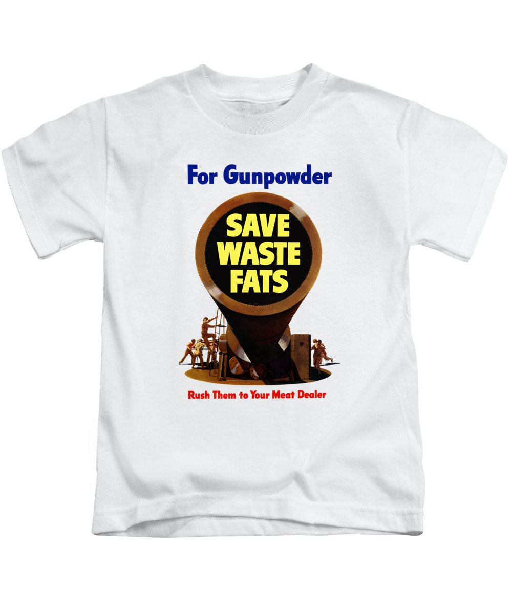 Wwii Kids T-Shirt featuring the painting For Gunpowder Save Waste Fats by War Is Hell Store
