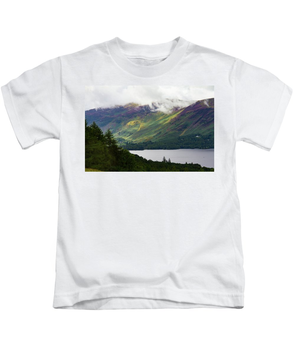 Cumbria Lake District Kids T-Shirt featuring the photograph Forest And Lake Derwent Water Drama by Iordanis Pallikaras