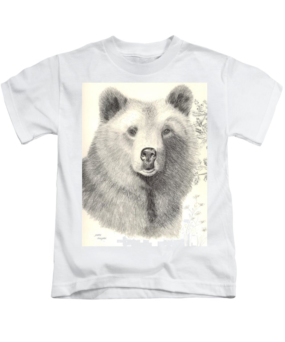 Grizzle Bear Kids T-Shirt featuring the drawing Forest Sentry by Joette Snyder