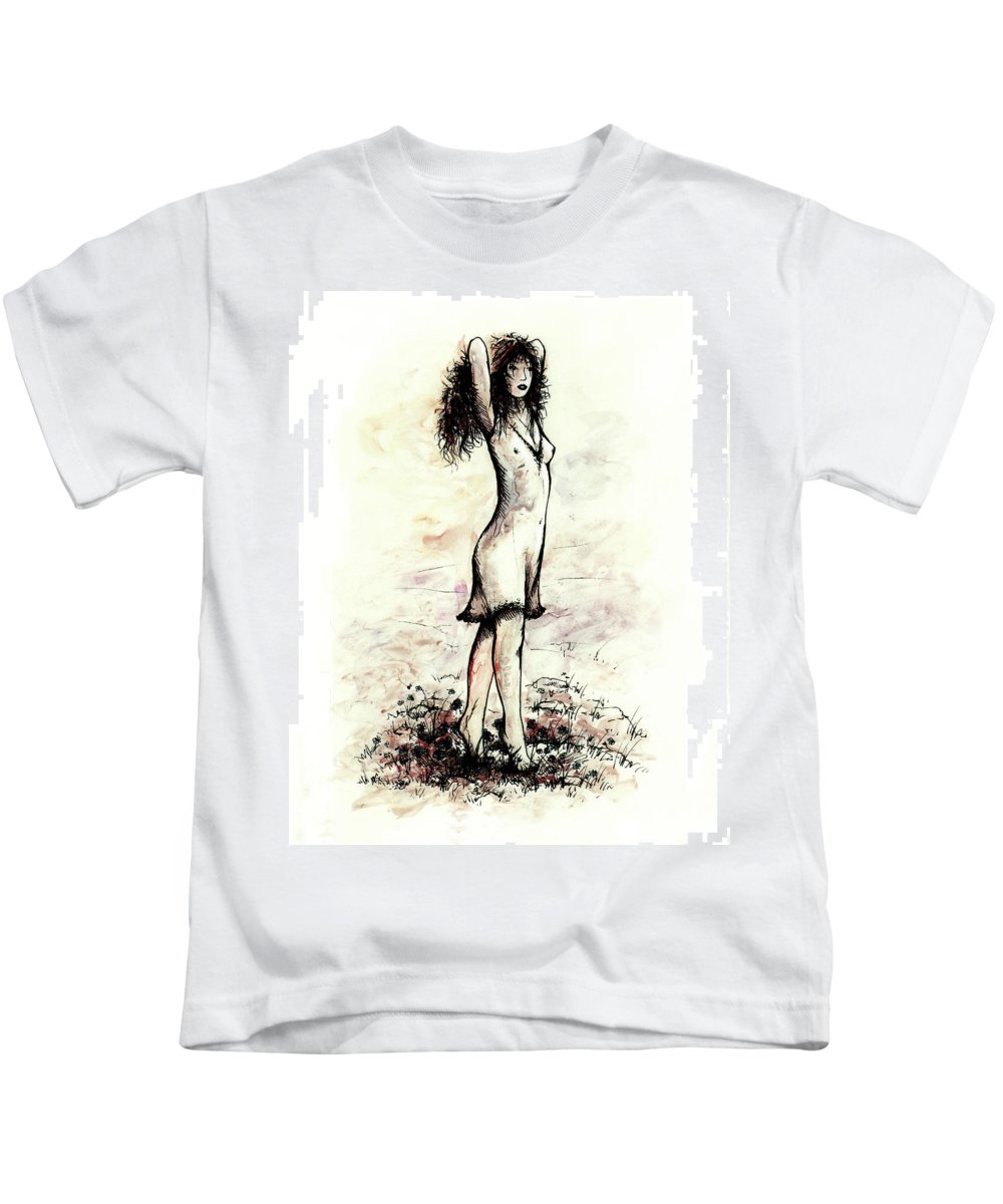 Figure Kids T-Shirt featuring the drawing Forget Me Not by Rachel Christine Nowicki