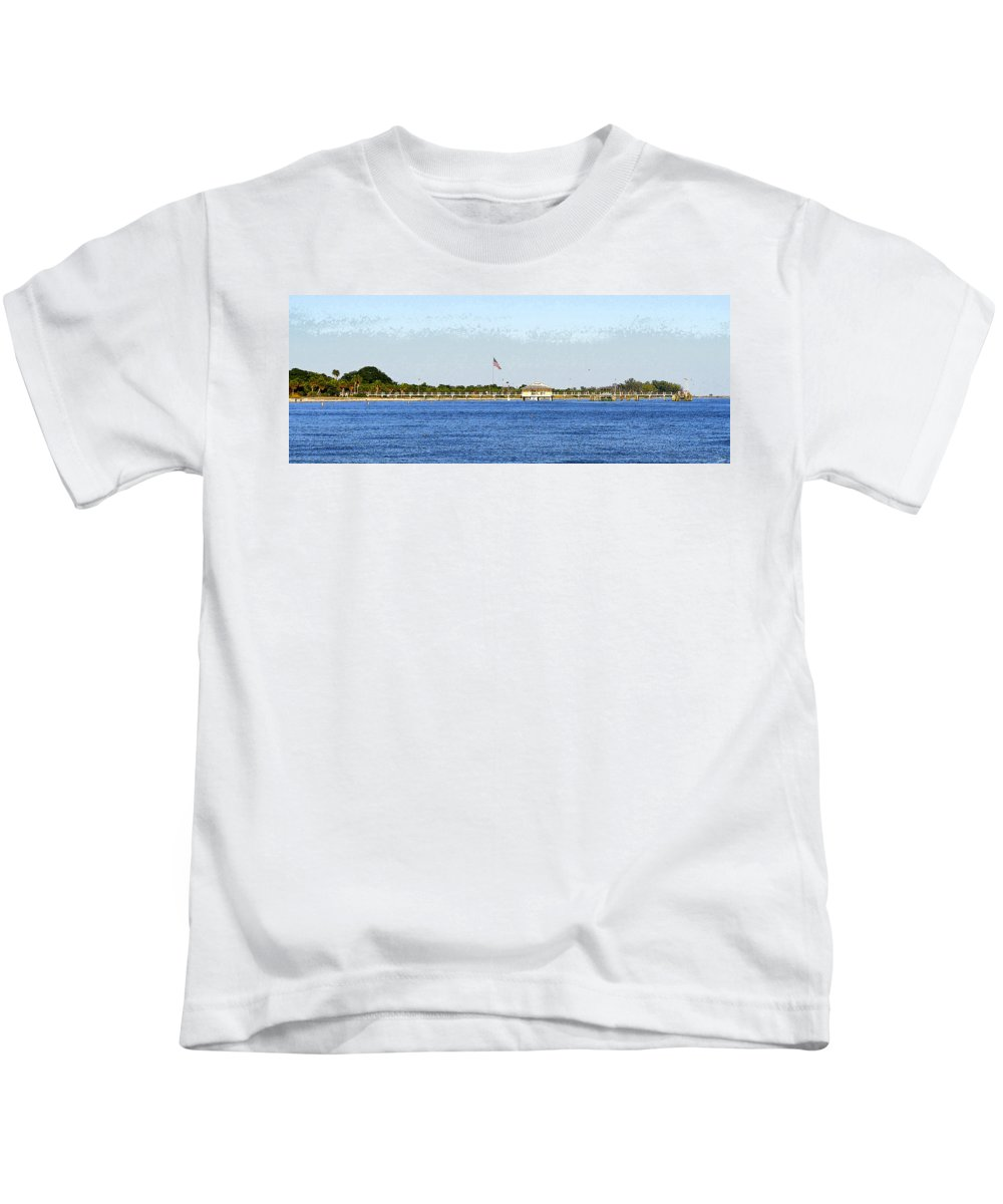 Art Kids T-Shirt featuring the painting Fort Desoto South Pier by David Lee Thompson