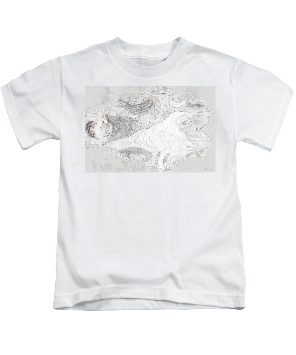 Fossil Horse Water Sand Bone Stone Abstract Wild Visions Kids T-Shirt featuring the photograph Fossilizing by Andrea Lawrence