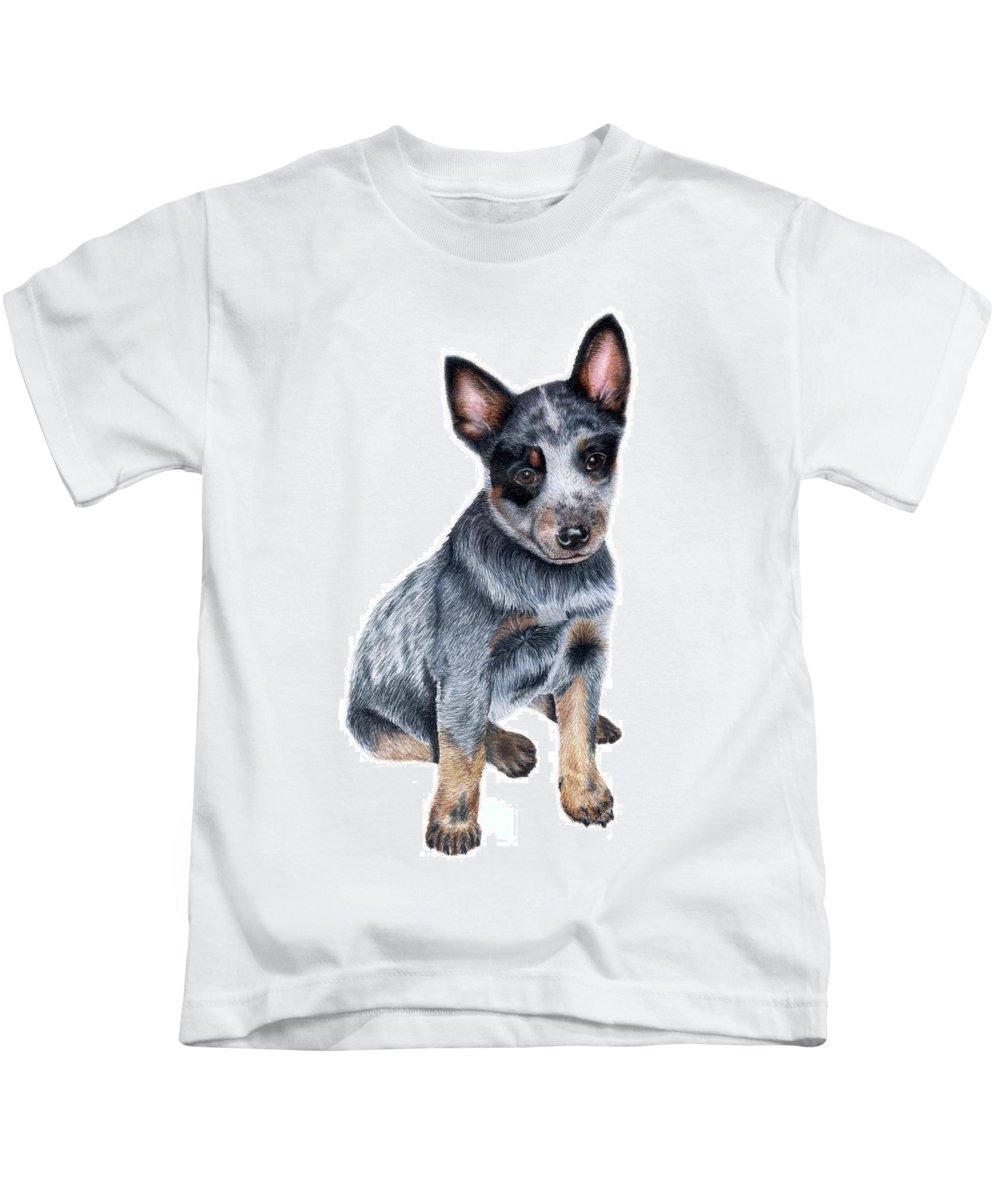 Dog Kids T-Shirt featuring the drawing Foster by Kristen Wesch