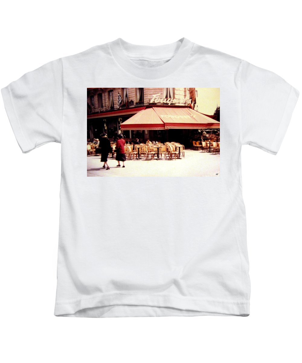 1955 Kids T-Shirt featuring the photograph Fouquets Of Paris 1955 by Will Borden