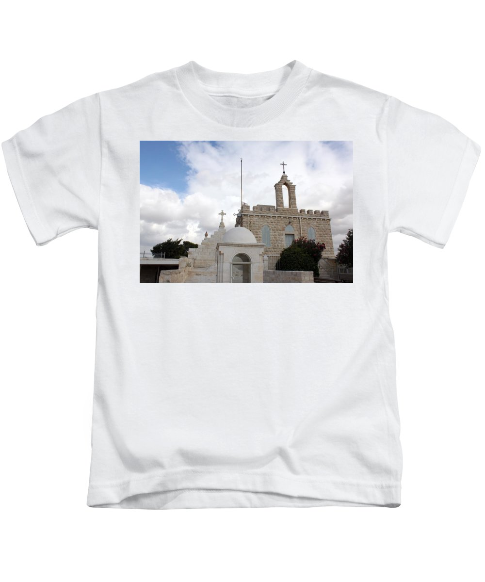 Milk Grotto Kids T-Shirt featuring the photograph Four Crosses by Munir Alawi