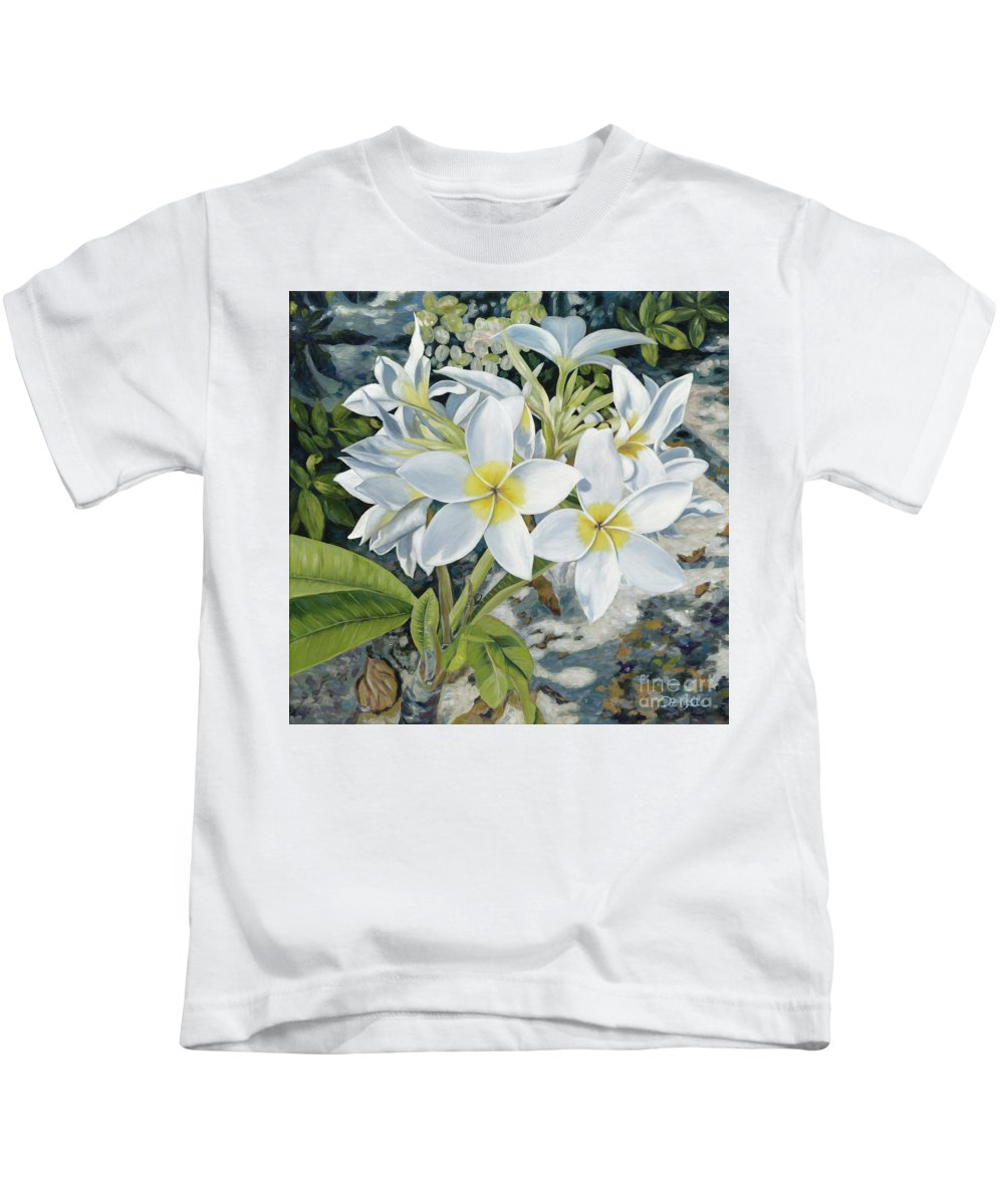 Frangipani Kids T-Shirt featuring the painting Frangipani by Danielle Perry