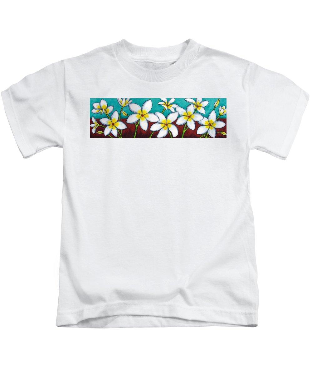 Frangipani Kids T-Shirt featuring the painting Frangipani Delight by Lisa Lorenz