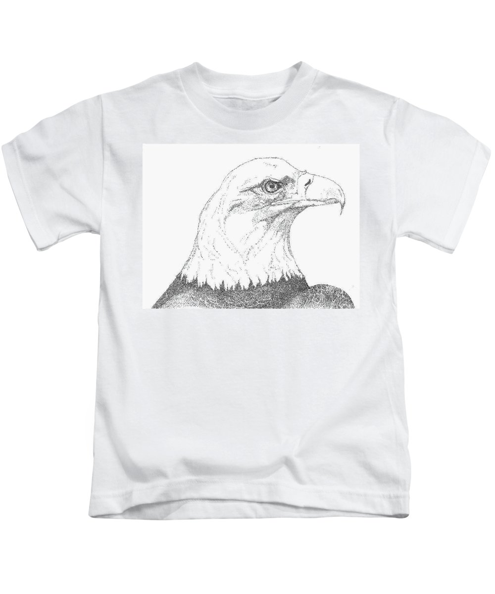 Eagle Kids T-Shirt featuring the drawing Freedom by Debra Sandstrom