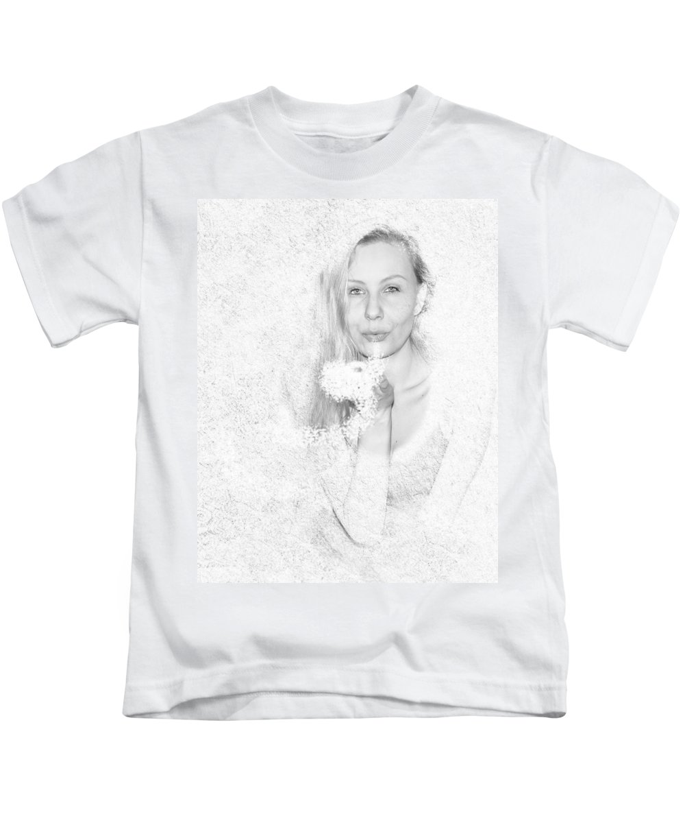 Woman Kids T-Shirt featuring the photograph Freezing Summer by Alex Art and Photo