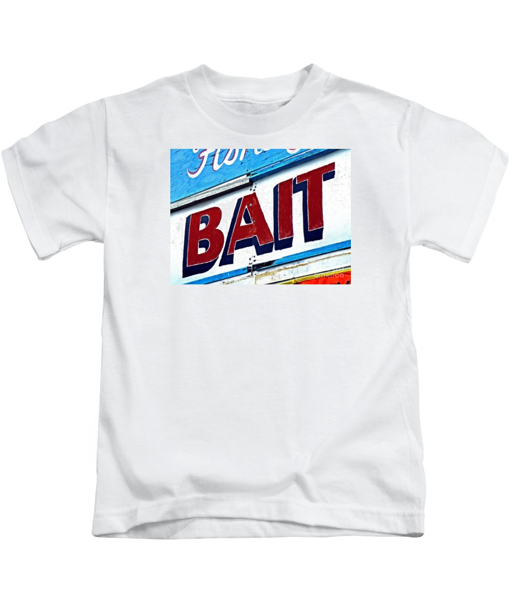 Bait Sign Kids T-Shirt featuring the photograph Fresh Dead Live Or Frozen by Joe Jake Pratt