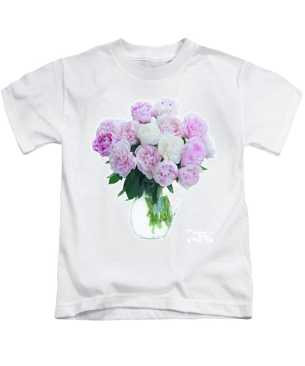 Peony Kids T-Shirt featuring the photograph Vase Of Peonies by Anastasy Yarmolovich