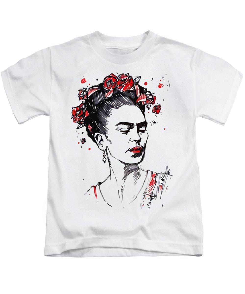 52c04cda Frida Kahlo Kids T-Shirt featuring the drawing Frida Kahlo by Aleksandar  Rosic